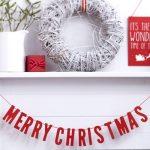 Houten slinger Merry Christmas rood