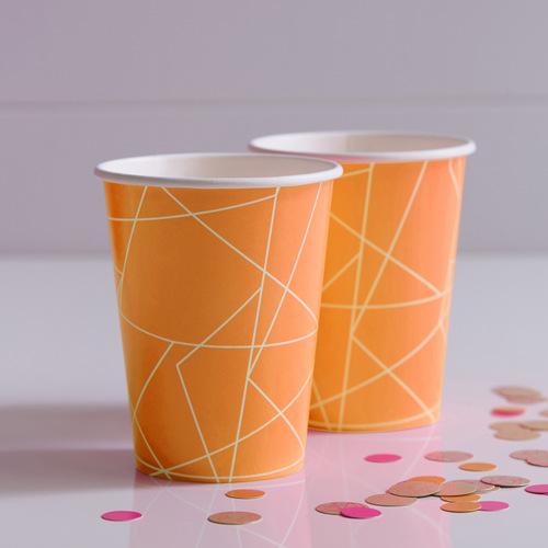 Papieren bekertjes 'Neon Orange' (8 ST)