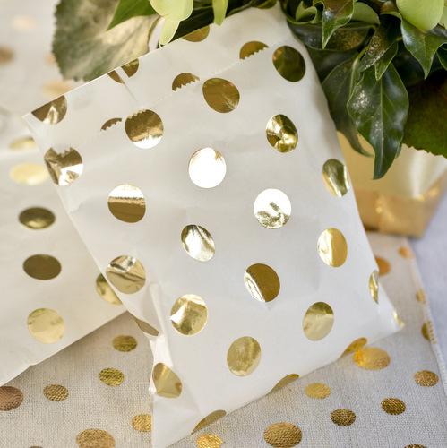 Snoepzakjes 'Metallic dots' goud (10ST)