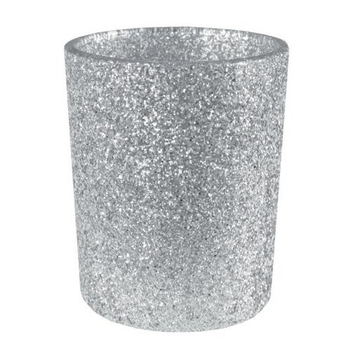 Waxinelichthouder glitter 'Zilver'