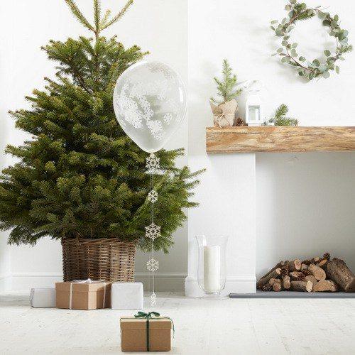 Confetti ballonnen snowflake 'Rustic Christmas' (5ST)