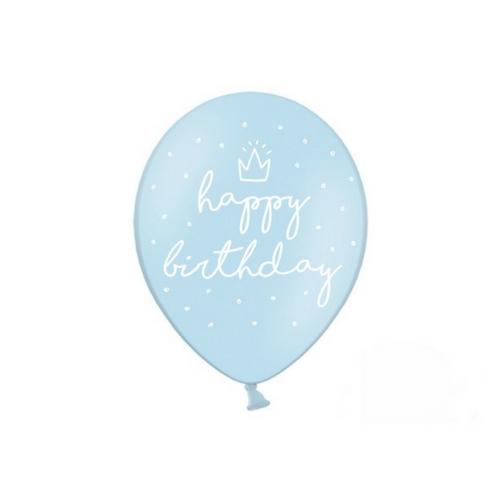 Ballonnen 'Happy Birthay' baby blauw
