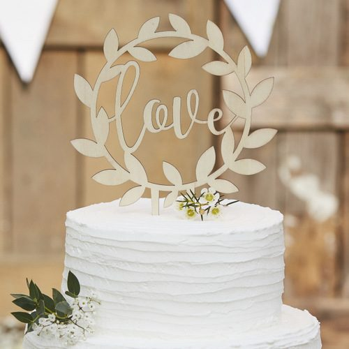 Houten-cake-topper-Love-Rustic-Country
