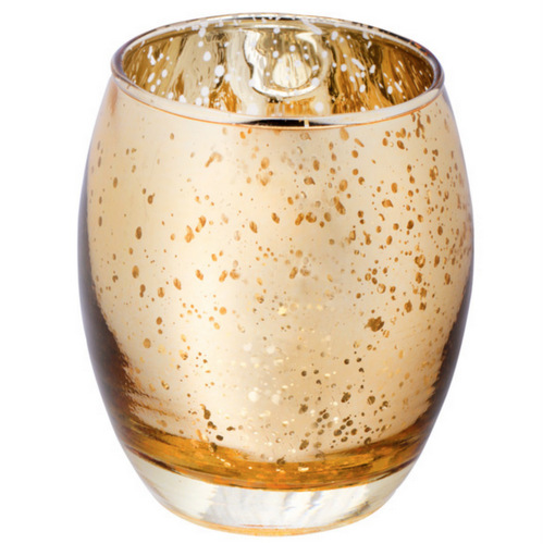 Waxinelichthouder goud spikkels medium for Feestversiering goud