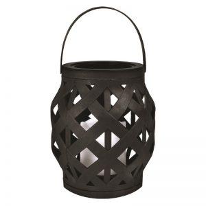 feest-artikelen-lantaarn-met-led-lampje-zwart