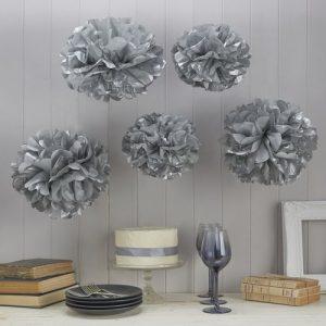feestartikelen-pompom-set-zilver-vintage-lace