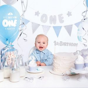 feestartikelen-party-box-first-birthday-blue-silver