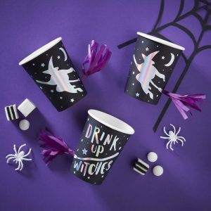 halloween-decoratie-papieren-bekertjes-drink-up-witches-creep-it-real