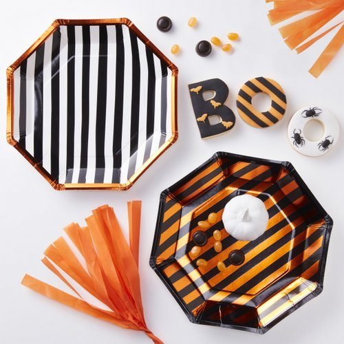 halloween-decoratie-papieren-bordjes-orange-black-pumpkin-party