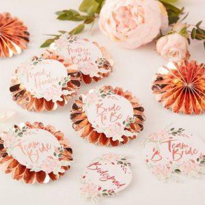 vrijgezellenfeest-decoratie-floral-hen-badges-kit