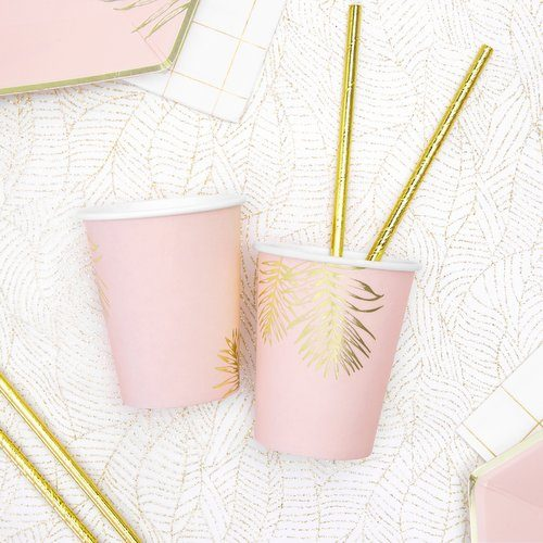 feestartikelen-papieren bekertjes-leaves-light-pink-2
