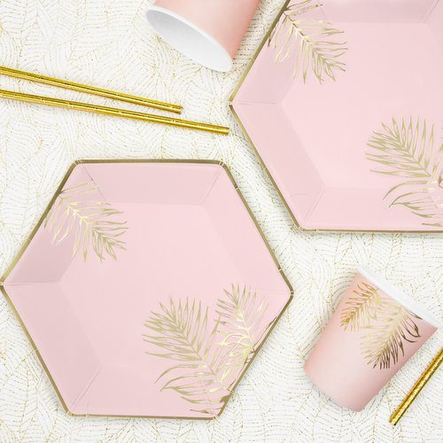 feestartikelen-papieren bekertjes-leaves-light-pink-3