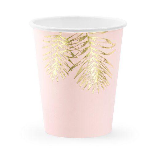 feestartikelen-papieren bekertjes-leaves-light-pink