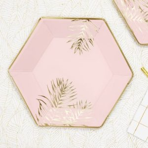 feestartikelen-papieren bordjes-leaves-light-pink-2