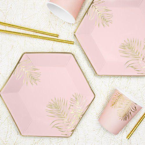 feestartikelen-papieren bordjes-leaves-light-pink-3