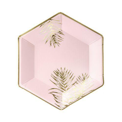 feestartikelen-papieren bordjes-leaves-light-pink