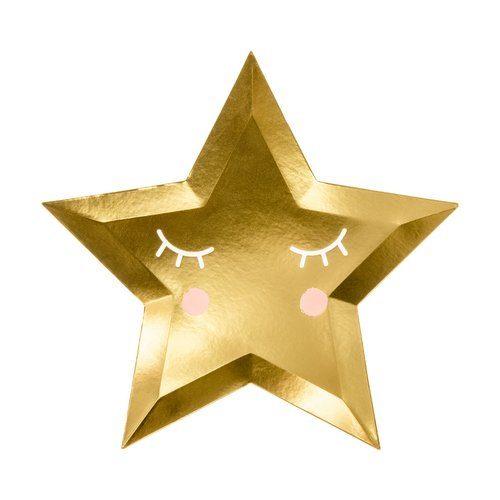 babyshower-versiering-papieren-bordjes-golden-star-little-star