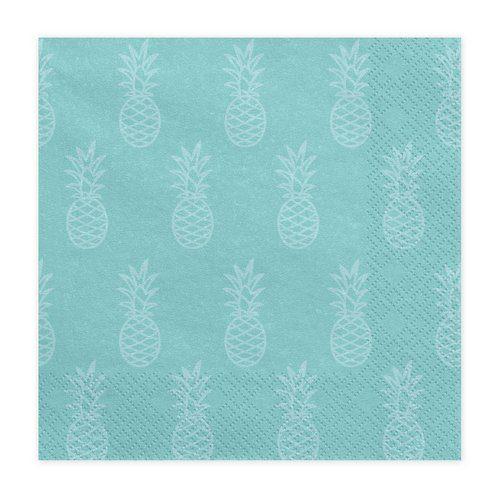 feestartikelen-servetten-turquoise-pineapple