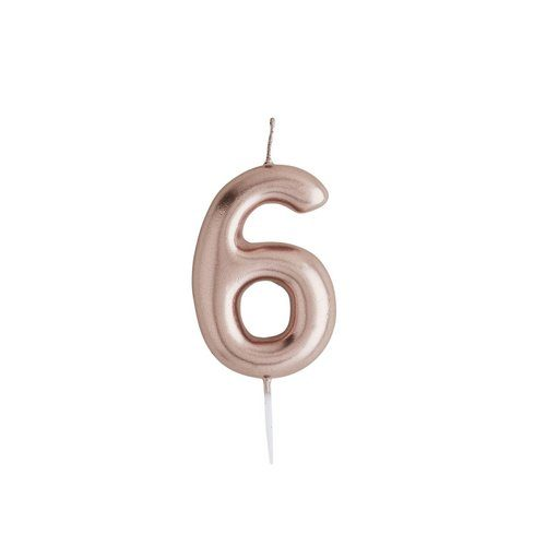 feestartikelen-taartkaars-rosegoud-cijfer-6