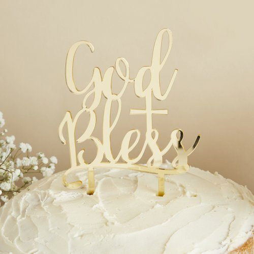 communie-versiering-acryl-cake-topper-god-bless-first-communion