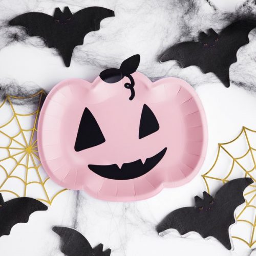 halloween-decoratie-papieren-bordjes-pink-pumpkin-black-bats