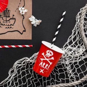 kinderfeestje-versiering-papieren-bekertjes-pirates-party-rood-3