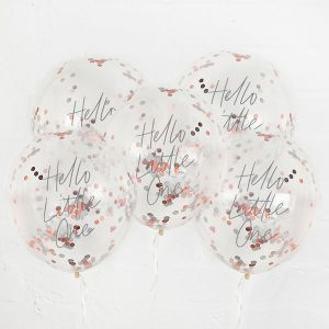 babyshower-versiering-confetti-ballonnen-hello-little-one