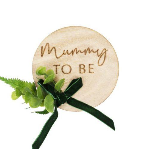 babyshower-versiering-houten-badge-mummy-to-be-botanical-baby