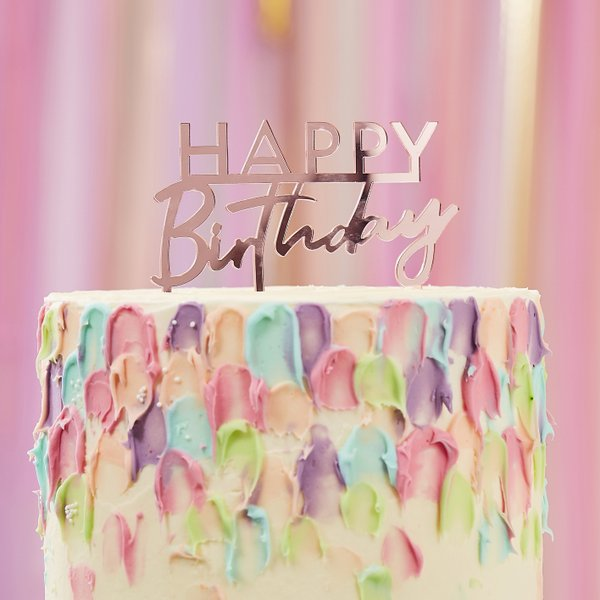 Surprising Acryl Cake Topper Happy Birthday Pink Mix It Up Pastel Funny Birthday Cards Online Hendilapandamsfinfo