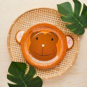 kinderfeestje-versiering-papieren-bordjes-aap-jungle-feestje