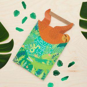 kinderfeestje-versiering-papieren-tasjes-luiaard-jungle-feestje