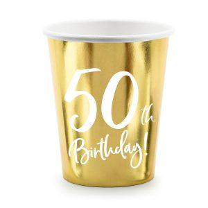 feestartikelen-papieren-bekertjes-50th-birthday-goud
