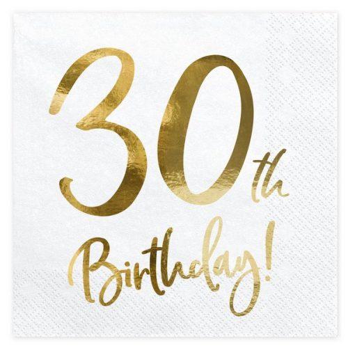 feestartikelen-servetten-30th-birthday-gold-white