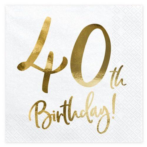 feestartikelen-servetten-40th-birthday-gold-white