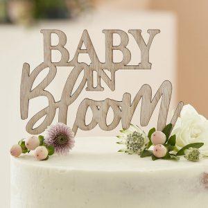 babyshower-versiering-houten-cake-topper-baby-in-bloom-2