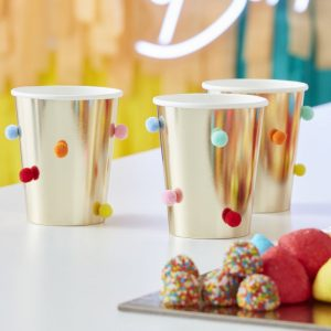 feestartikelen-papieren-bekertjes-multicoloured-pompoms-goud-mix-it-up